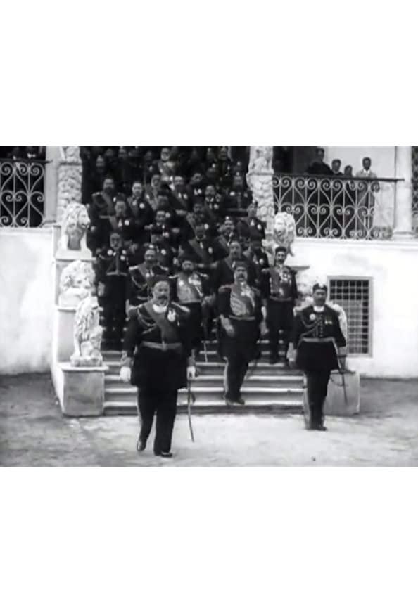 Le Bey de Tunis et les personnages de sa suite descendant l'escalier du Bardo kapak