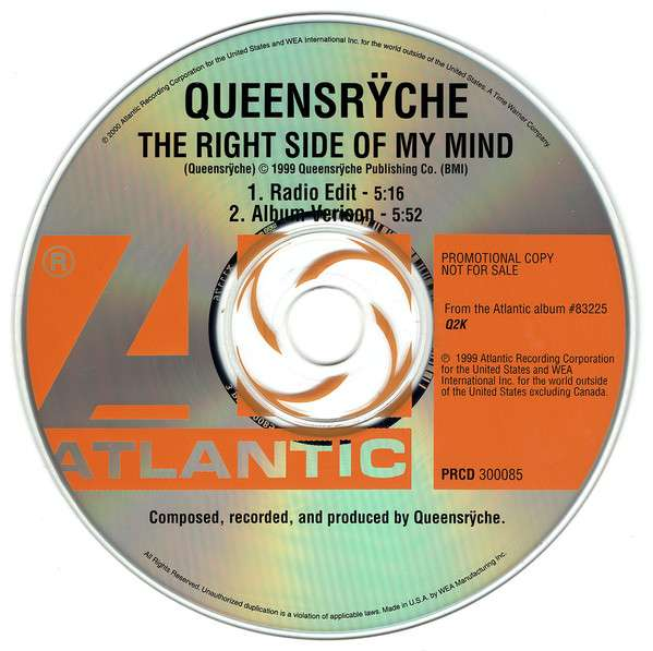 Queensrÿche: The Right Side of My Mind kapak